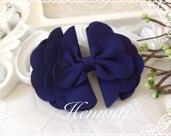 "The Brielle - 2 pieces 4"" inch NAVY Hair Bow Knot Applique. DIY Supplies Hair accessories. Fabric Bow."