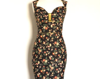 Soot Black and Coral Floral Bustier Pencil Dress - Made by Dig For Victory