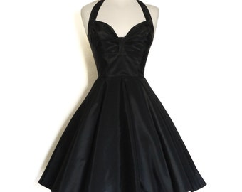 Black Vintage Taffeta Bustier Halterneck Dress- made by Dig For Victory