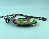mosaic spoon pendant and chain upcycled pink and green glass tile