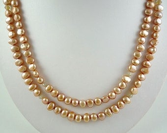 Long Pearl Neckace Long Freshwater Pearl Necklace Long Champagne Pearls Pale Gold Freshwater Pearls Long Champagne Pearl Strand Long Pearls