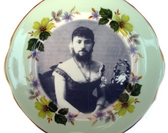 """The Bearded Lady - Circus Freak Series  - Altered  Vintage Plate 8.4"""""""