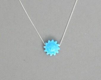 Blue Ceramic Sun Necklace