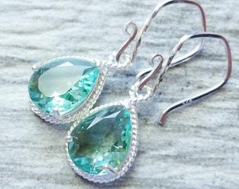 Mint Green Teardrop Earrings, Light Green Glass Sterling Silver Earrings, Bridesmaid Jewelry, Gift, Wedding, Spring Earrings