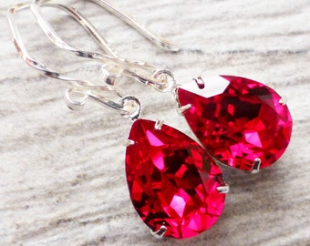 Crystal Earrings, Red Rhinestone Earrings, Swarovski Crystal Teardrop Earrings, Sterling Silver, Gift for Her, Bridesmaid Jewelry, Gift