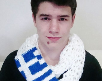 Greek Flag Scarf, Knit Scarf, Unique Scarves, Hand Knitted Scarf, Greek Scarf, Mens Scarf, Womens Scarves, Boyfriend Gift For Him, Her
