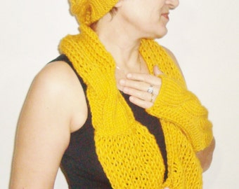 Mustard Hat Scarf and Gloves Set Ladies all in one Hand Knitted gift for her