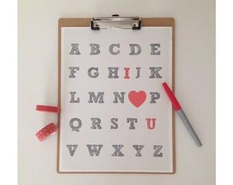 ABC I Love You Print
