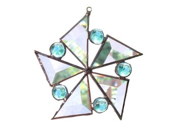Blue Stained Glass Star Suncatcher Flower Beveled Snowflake Handmade OOAK