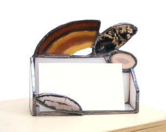 Business Card Holder Brown Beige Grey Agate Stained Glass Geode Handmade