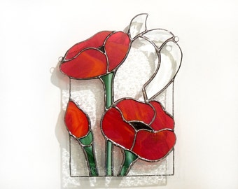 Poppies Stained Glass Suncatcher Panel Red Poppy Handmade OOAK