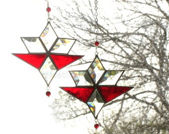 Red Stained Glass Suncatcher Star Geometric Sun Catcher Beveled Bevels Christmas Handmade OOAK