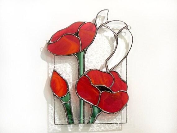 Poppies Stained Glass Suncatcher Panel Red Poppy Handmade OOAK