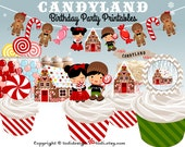 CANDYLAND Birthday Party Printables,Hansel and Gretel inspired twins birthday - INSTANT DOWNLOAD Full Party Set