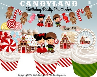 CANDYLAND Birthday Party Printables and invitation,Hansel and Gretel inspired - Personalised Full Party Set