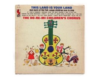 "Milton Glaser record album design, c.1965. The Do-Re-Mi Childrens Chorus ""This Land is Your Land"" LP"