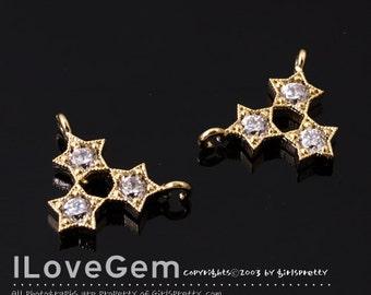 NP-1597 Gold Plated, Triple Star CZ, Pendant, 2pcs