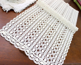 Vintage Chemical Lace Table Runner Scarf - French Cream Centerpiece 11644