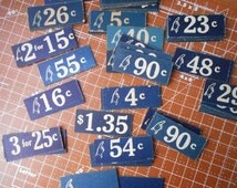 Vintage Store Price Tags set of 9