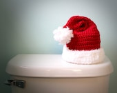 Santa Hat Toilet Paper Cover Crochet Christmas Holiday