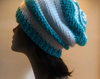 The Sunshine Collection - Turquoise And White Striped Crochet Oversized Slouch Hat
