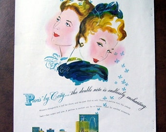 Paris by Coty Original Magazine Print Page Ad, Perfume to enchant you, 1942, Enchanting artist drawn ad, Perfume bottles print