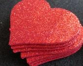 Glitter Foamy Red Hearts- Puffy Hearts-Valentine's Decorations-Glitter Heart Embellishments-Wedding Decor-DIY Valentines
