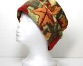 SALE - Orange and Red Fall Leaves Pillbox Fleece Hat Warm Hat Winter Hats Womens Hats Womans Fleece Hats Ladies Fleece Hat - LAST ONE