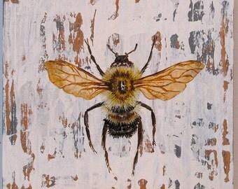 Bee Walk in the Woods original acrylc painting on re-purposed wood