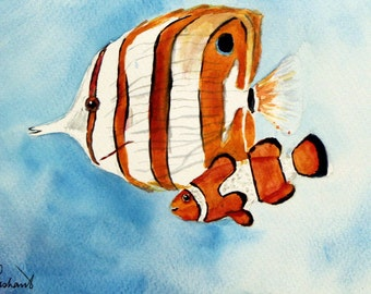 Tropical Clownfish and Butterfly fish - Original watercolor painting - Nemo