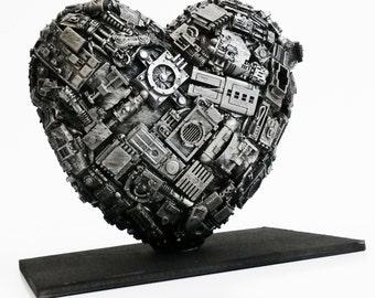 steampunk love heart sculpture