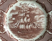 Your ships come in vintage brown transferware ship plate