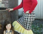 Sale on Sample Pencil Skirt with Flounce Peplum Bottom Rockabilly Pinup Retro Style in Sugar Skulls or Custom Fabric