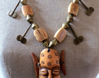 On sale! Old tribal African bead and bronze necklace from Lega Tribe DR. Congo- Africa, hand made