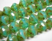 15 9mm Aqua Opal Picasso faceted Firepolished Thru Cuts Czech Glass Beads