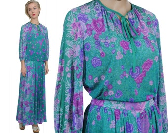 Hippie Deluxe 70s Turquoise Floral Ensemble / Matching Blouse & Maxi Skirt  Jersey Set / M