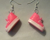Shoe Earrings Recycled Pink Converse Style Doll Sneaker Earrings