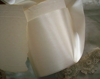 "2 yds. of white vintage satin rayon ribbon 5"" wide"