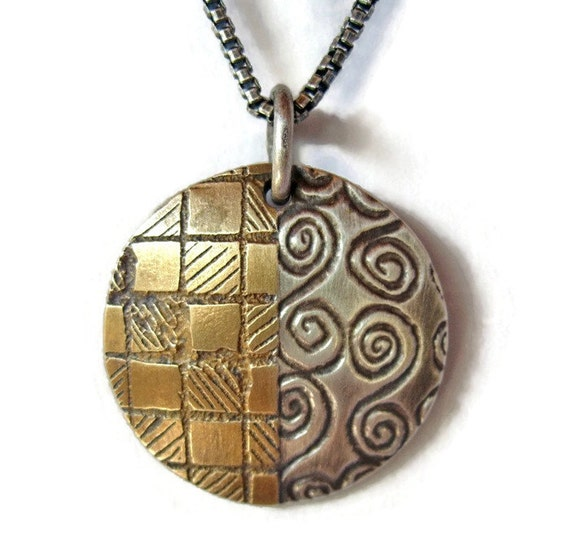 Round Acid Etched Silver Brass Pendant