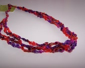 SALE 20% OFF; Ladder Yarn Necklace in Red Orange Purple Pink; Crochet Necklace for Women Teen Girls; Pretty and Practical Fashion Accessory