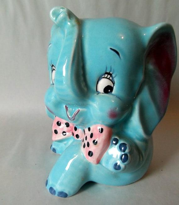 Items similar to blue elephant vintage ceramic piggy bank tourist enterprise exclusive toronto - Ceramic elephant piggy bank ...