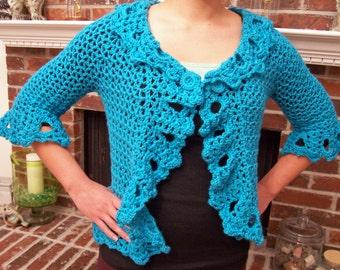 SALE: Elegant Woman's Crocheted Cardigan
