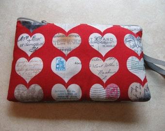 vintage print hearts print large padded bag