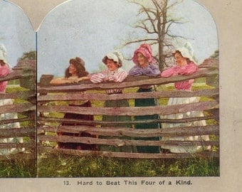 Hard To Beat This Four Of a kind Antique stereo view card
