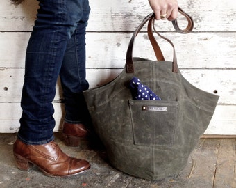 The Gatherer Bag in Moss, Waxed Canvas Bag, Waxed Canvas Tote Bag, Waxed Canvas Purse, Waxed Canvas Bucket Bag, Waxed Canvas Handbag, Tote