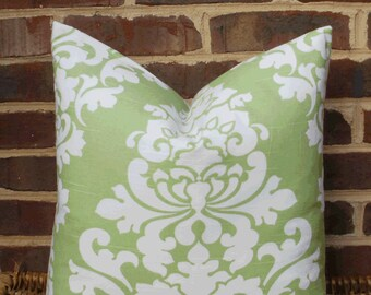SALE ~ Decorative Pillow Cover: Large Damask Lime Green and White Designer 18 X 18 Pillow Cover