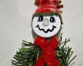 Red Tea Light Snowman Ornament