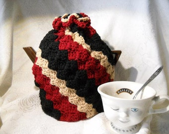 Striped Teapot Cozy Crocheted Striped Teapot cover
