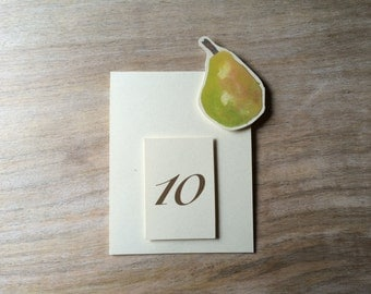 Pear Fruit Table Number Tents - for Events, Weddings, Parties, Showers, Graduations.