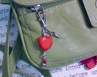 Big Red Heart Glass Beaded Zipper and Purse Pull
